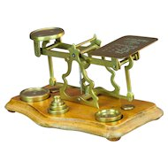 Satinwood and brass postal scale by S. Turner for Retailer John Heath, Birmingham, England