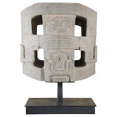 Aztec Style Vintage Cast Stone Sculpture on Iron Stand