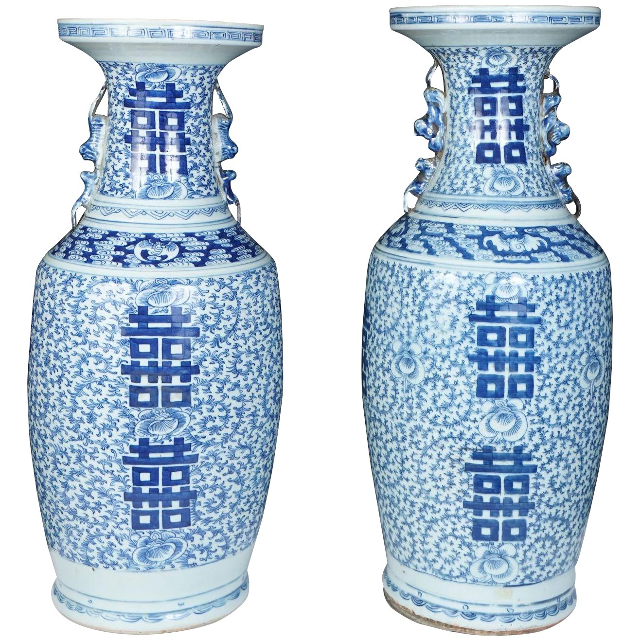 Pair of Large Chinese late 7th Century Blue & White Porcelain Vases