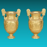 Pair 19th Century Gilded Bronze Classical Urns on Marble bases