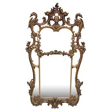 Edwardian Large Chinese Chippendale Style Gilded Mirror
