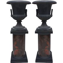 Pair of 19th Century Cast Iron Urns on Marbleized Pedestals