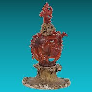 Chinese Agate Covered Vase on Gilt Base