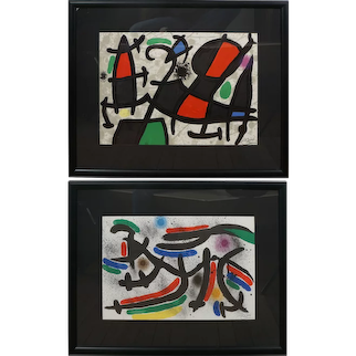 Two Pencil Signed Miro Lithographs