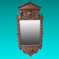 Victorian Carved Oak Mirror