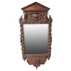 Victorian Carved Oak Mirror