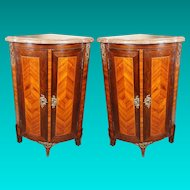 Pair French Louis XV Style Two Door Corner Cabinets with Marble Tops