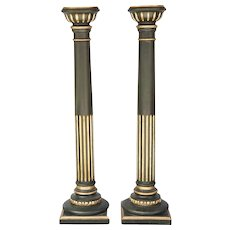 Pair of  Late 19th Century Painted & Gilded Carved Wood Pedestals