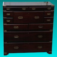 Early 20th Century Rosewood Campaign Chest with Desk Drawer