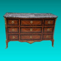18th Century Transitional  Louis XV to Louis XVI Marquetry Marble Topped Commode