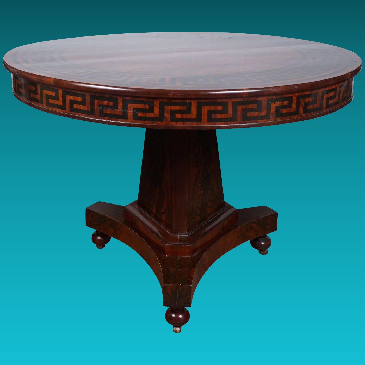 A Fine Paint Decorated Regency Mahogany Center Table : Gottlieb ...