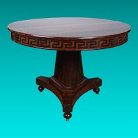 A Fine Paint Decorated Regency Mahogany Center Table