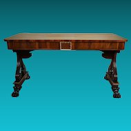 19th Century Late William IV Rosewood and Gilded Library or Writing Table