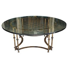 Vintage Italian Gilt Iron and Glass Top Coffee Table