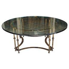 Vintage Italian Gilt Iron and Glass Top Coffee Table