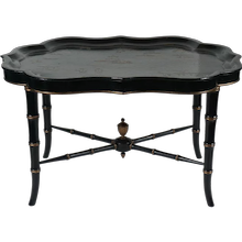 Chinoiserie Papier Mache Lacquer Tray on Stand