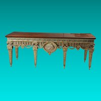 Large and Impressive Painted and Gilt Console Table with Wood Top from Blairsden