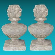 Pair of French Carved Lime Stone Flame Topped Urn Finials