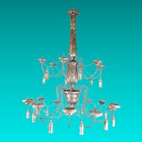 Large French Silver Gilded Wood & Iron Chandelier