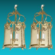 Pair Louis XV Style Cast & Chased Brass Lanterns with Etched Glass Panels