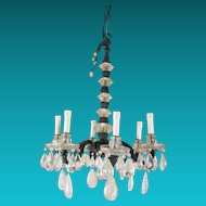 Vintage 30's Maison Bagues Patinated Bronze , Crystal and Rock Crystal Chandelier