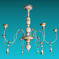 Turn of Century Painted & Gilded Wood Italian Chandelier