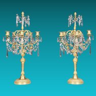 Pair of Louis XVI Style Gilded Bronze & Crystal Candelabra