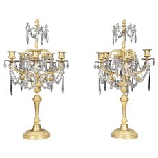 Pair of Louis XVI Style Gilded Bronze & Crystal Candelabra