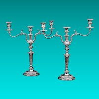 Pair Of English 19th Century Silver Plated Three-Light Candelabrum
