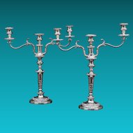 Pair Of English 19th Century Silver Plated Three-Light Candelabrum