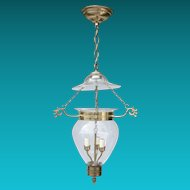 Vintage Hand Blown Glass Hall Lantern with Smoke Bell