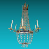 Gilded Bronze and Tole Fete Chandelier