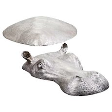Hippo in Silvered Bronze