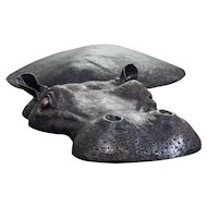 Hippo in  metal , bronze color