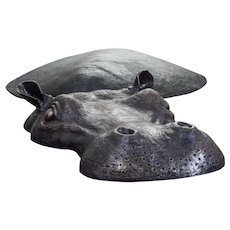 Hippo in  metal , bronze color