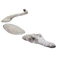 Silvered Bronze Crocodile Sculpture