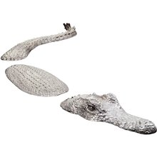 Silvered Bronze Crocodile Sculpture