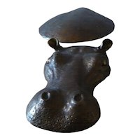 Goldened Bronze  Hippo  Sculpture