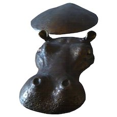 Goldened Bronze  Hippo  Sculpture