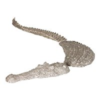 Small Silvered Bronze Crocodile