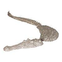 Small Silvered Bronze Crocodile