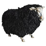 Sheep Stools with black suede lashes  in the manner of Claude Lalanne