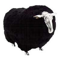 Sheep Stools with black wool  in the manner of Claude Lalanne