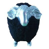 Black and silver little sheep in the manner of Lalanne