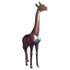 Baby Giraffe life size in silver colored Fiberglass