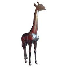 Baby Giraffe life size in silver colored Fiberglass