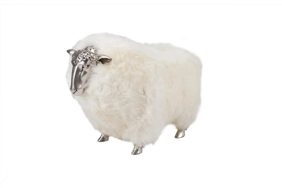 Sheep Stools With White Wool In The Manner Of Claude