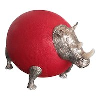 Litte red rhino : ostrich egg, leather and silver