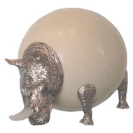 Little Rhino : ostrich egg and silver