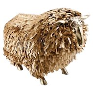 Sheep Stools with gold leather lashes in the manner of Claude Lalanne